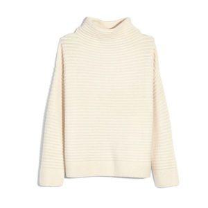 Madewell ivory Belmont ribbed mock neck sweater